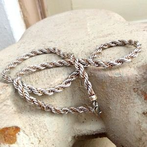 Silver & Gold Twisted Chain Rope Necklace Precious
